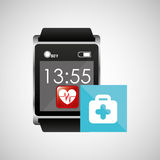 Square smart watch health first aid. Vector illustration eps 10 Stock Image