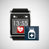 Square smart watch health medication container Royalty Free Stock Photo