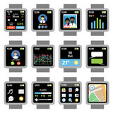 Square smartwatch. Applications on the screen Stock Photography