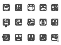 Square smiley face icons Royalty Free Stock Photos