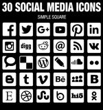 Square social media icons collection flat black and white with rounded corners