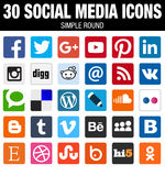 Square social media icons collection with rounded corners
