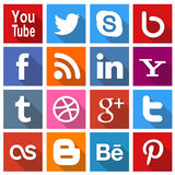 Square Social Media icons 2. A set of 16 popular social media icons for use in print and web projects. Icons include Pinterest, Youtube, Google Plus, Twitter Royalty Free Stock Photo