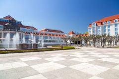 Square in Sopot with beautiful architecture. Poland Royalty Free Stock Images
