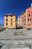Square in Sori, Liguria, Italy. Small square in Sori village, Liguria, Italy - vertical composition Royalty Free Stock Image