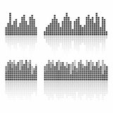 Square sound waveforms. Music waves logo for sound studio, template for ui Royalty Free Stock Photos