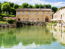 Square of Sources in Bagno Vignoni, medieval village in Tuscany, Italy Stock Image