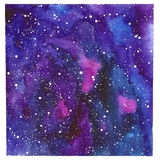 Square space abstract hand painted watercolor background. Texture of night sky. Hand draw painted galaxy with stars Royalty Free Stock Photos