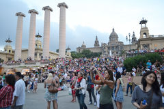 Square of Spain in Barcelona, Catalonia. Royalty Free Stock Photo