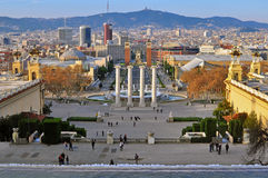 Square of Spain, Barcelona skyline Stock Photo