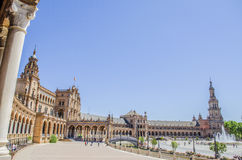 Square of Spain (Plaza de Espana) in panorama, Sevilla, Spain Royalty Free Stock Images