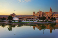 Square of Spain, Sevilla, Spain. Square of Spain at night, Sevilla, Spain Royalty Free Stock Images