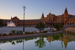 Square of Spain, Seville, Spain. Square of Spain at night, Seville, Spain Stock Photography
