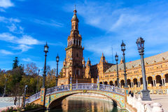 Square of Spain in Seville, Spain. December 22 royalty free stock image