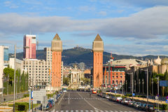 Square of Spain with venetian towers, Barcelona Stock Photography