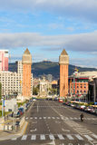 Square of Spain with venetian towers, Barcelona Stock Photos