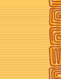 Square Spiral Stationery. Lined paper stationery with warm Aztec glyphs and tones Stock Photos