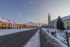Square in Spisske Podhradie town in winter frosty sunny morning royalty free stock images