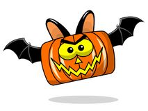 Square Spooky Bat halloween pumpkin flying isolated Stock Images