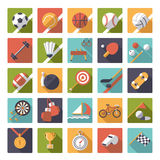 Square sports icons flat design vector set. Collection of 25 flat design sports and gymnastics vector icons in square shape with rounded corners Stock Photos