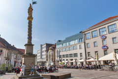 Square with St. Florian column in Maribor, Slovenia. royalty free stock photo
