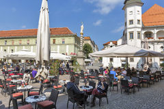 Square with St. Florian column in Maribor, Slovenia. royalty free stock image