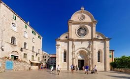 Square of St. James Cathedral, Sibenik. The Cathedral of St. James in the town of Åibenik Sibenik on the shores of the Adriatic Sea and near the famous Krka stock photos