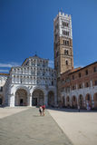 The square of St Martin in Lucca (Italy). Vertically. Stock Photography