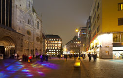 Square before St. Stephen's Cathedral in night Royalty Free Stock Photo