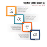 Square Stack Process. Vector illustration of square stack infographic design element Stock Photography