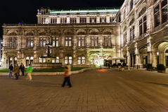 Square and State Opera House in night, Vienna Stock Photos