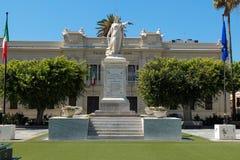 Square and statue of liberty of Reggio Calabria royalty free stock photo