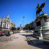 Square with statue in Porto, Portugal Royalty Free Stock Images