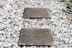 Square stepping stones Stock Photo