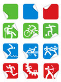 Square Sticker sport icons Royalty Free Stock Photography