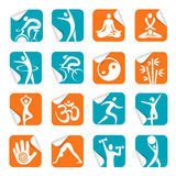 Square Sticker with yoga spa fitness icons. Set of colorful Square Stickers with fitnes, yoga, spa icons. Vector illustration Royalty Free Stock Photography