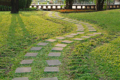 Square stones,curved path Royalty Free Stock Photography