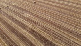 Square Straw Bales on harvest field, aerial view, at angle, straight ahead with turn left stock video footage