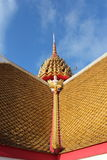 A square structure with four arches and a pyramidal roof. In Wat Nangpraya Phitsanulok Stock Images
