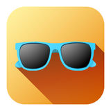 Square Summer Icon with sunglasses Stock Photos