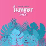 Square Summer sale banner design with paper cut tropical palm leaves background with hand drawn lettering qoute. Vector stock illustration