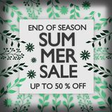 Square Summer Sale Banner. Square summer sale banner with big text and plant green leafs. 3d illustration royalty free illustration