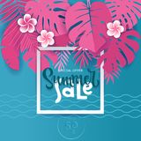 Square Summer Tropical palm monstera leaves in trandy paper cut style. White frame 3d letters SUMMER SALE hiding in exotic blue. Leaves on pink background for royalty free illustration