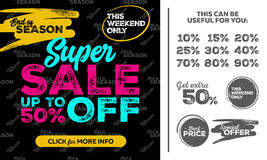 Square Super Sale Banner. This Weekend Only Special Offer. Sale Up To 50% Off. Seamless End of Season Pattern. Vector Template for Shop, Market, Flyer, Banner Royalty Free Stock Photos