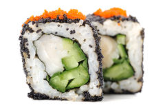 Square sushi rolls with white fish, vegs, cream cheese and orang Stock Photography