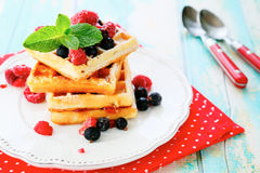 Square sweet waffles with berries Stock Images