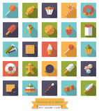Square Sweets and Cakes Flat Design Icon Collection. Candy, sweets, cookies and cakes flat design long shadow square icons set Royalty Free Stock Image