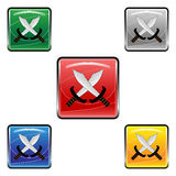 Square swords buttons Stock Photos