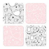 Square table coasters set with doodle tea and coffee background. Table accessory template Stock Photos