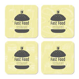 Square table coasters template with hand drawn Royalty Free Stock Photos